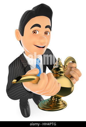 3d business people illustration. Businessman with a wonderful lamp. Lucky concept. Isolated white background. - Stock Photo