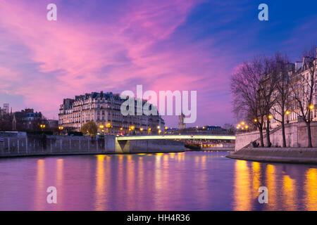 Ile de la Cite at sunset, Paris, France - Stock Photo