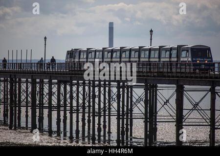 Train on Southend Pier, Southend-on-sea, Essex - Stock Photo