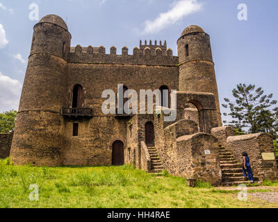 Fasil Ghebbi (Royal Enclosure) or Fasilides Castle in Gondar, Ethiopia. - Stock Photo