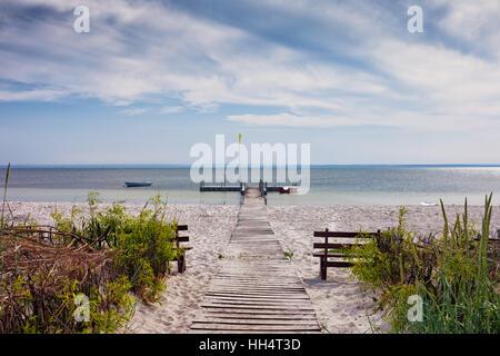 Beach at Baltic Sea bay on Hel Peninsula in Kuznica, Poland - Stock Photo