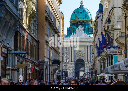 Wien, Vienna: Kohlmarkt, gate Michaelertor of Hofburg, 01. Old Town, Wien, Austria - Stock Photo