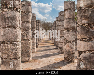 At Chichen Itza - The Plaza of a Thousand Columns taken latter in the day so the columns have nice shading and shadows - Stock Photo