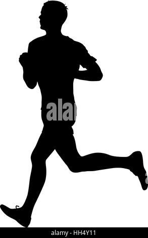 Silhouettes Runners on sprint, men. vector illustration - Stock Photo