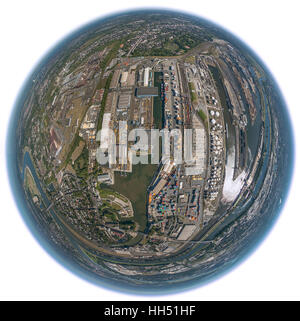 Duisport, inland port of Duisburg, the largest inland port in europe, the Port of Duisburg as a globe, fisheye image, - Stock Photo