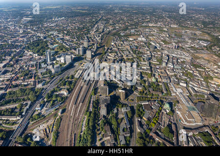 Essen city center, City with Cathedral and Philharmonic Hall and City Hall and Central Station, Essen, Ruhr area, - Stock Photo
