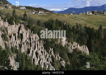 View to Ritten, South Tyrol, Italy, Earth Pyramids - Stock Photo