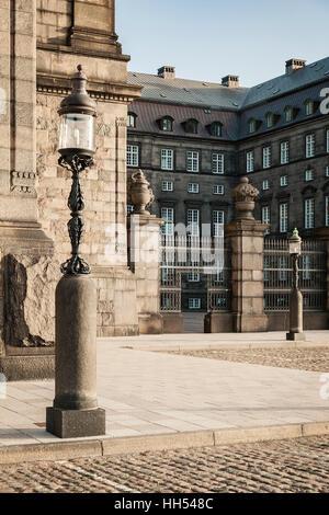 Image of decorative street lamp by Christiansborg palace. Copenhagen, Denmark. - Stock Photo
