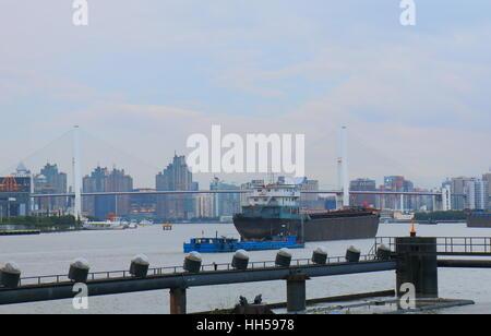 Shanghai industrial port cityscape in Shanghai China. - Stock Photo