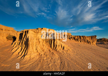 Eroded sand formations at The Walls of China in Mungo National Park. - Stock Photo