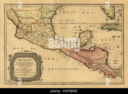 Map Of Central America 1656 - Stock Photo