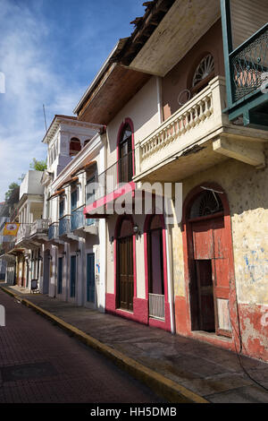 June 15, 2016 Panama City, Panama: closeup of a newly renovated historical buildings mixed with ruins in the Casco - Stock Photo