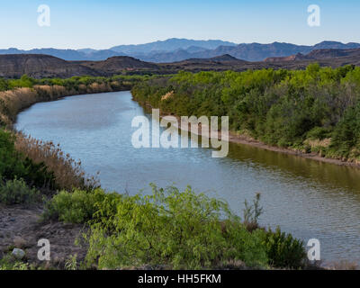 Rio Grande River along Texas Highway 170, Big Bend Ranch State Park, Texas. - Stock Photo