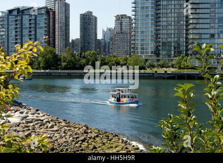 An aquabus ferry sailing on False Creek, Vancouver, British Columbia, Canada - Stock Photo