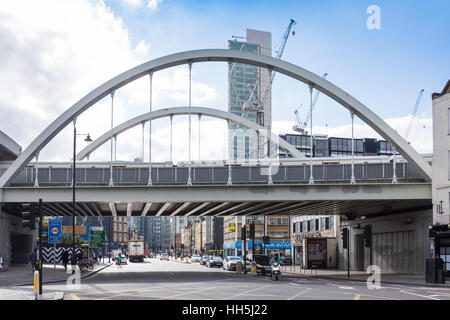 Railway bridge, Shoreditch High Street, Shoreditch, London Borough of Hackney, Greater London, England, United Kingdom - Stock Photo