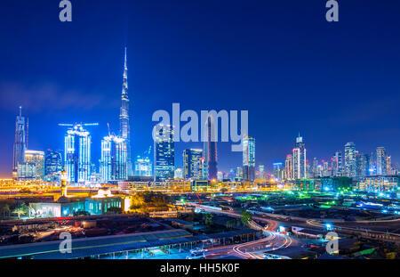 DUBAI FINANCIAL CENTER,UNITED ARAB EMIRATES-FEBRUARY 28, 2016: View on skyline of Dubai Financial Center with modern - Stock Photo