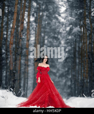 Woman witch in red dress and with raven on her shoulder in snowy forest. Her long dress lying on snow. Around snowing. - Stock Photo