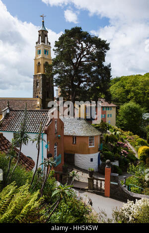 Portmeirion - unique Italianate village created by architect Clough Williams-Ellis in North Wales. - Stock Photo