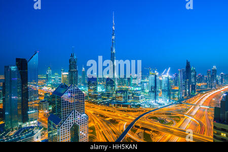DUBAI ,UNITED ARAB EMIRATES-MARCH 5, 2016: Dubai skyline with city center lights Sheikh Zayed road traffic,Dubai - Stock Photo