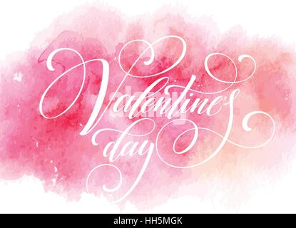 Valentines Day Card with lettering in pink watercolor background. Vector illustration - Stock Photo