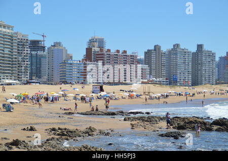 Scenic view of Brava beach in Punta del Este, Uruguay - Stock Photo