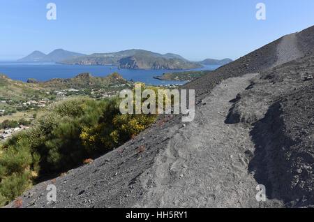View of Lipari and Salina from the climb up Vulcano Island - Stock Photo