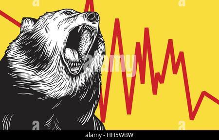 Bear Market Icon Symbol Vector Concept - Stock Photo
