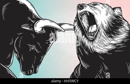 Bull and Bear Market Investment Business Icon Concept - Stock Photo
