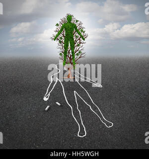 Life after death concept and afterlife symbol or renewal hope metaphor as a tree shaped as a human growing from an asphalt floor with a chalk drawing