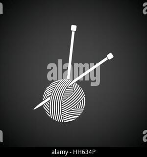 Yarn ball with knitting needles icon. Black background with white. Vector illustration. - Stock Photo