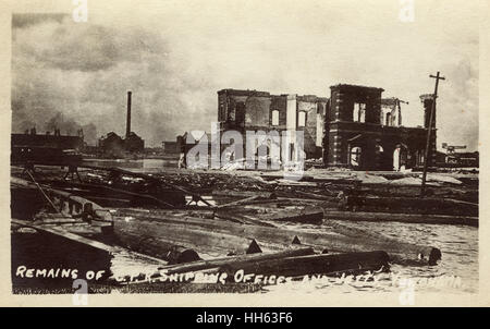The aftermath of the earthquake in Yokohama, Japan - remains of CPR (Canadian Pacific Railway) Shipping Offices - Stock Photo