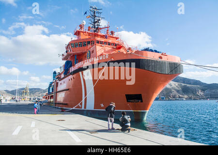 Clara Campoamor resuce vessel moared in the marina of Cartagena in Murcia Spain - Stock Photo