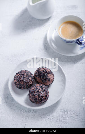 Almond cookies with chocolate and coffee. Gluten free flour. - Stock Photo