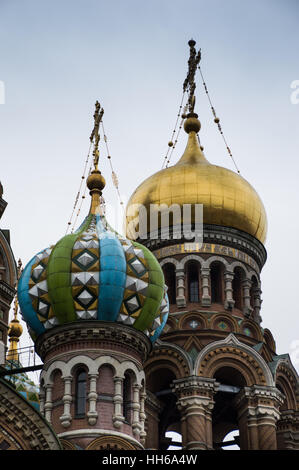 Close up of the gold, green and turquoise onion domes of the Russian Orthodox church, the Church of Our Savior on - Stock Photo