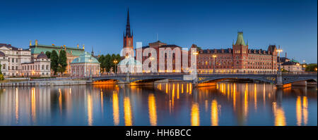 Panorama of Stockholm, Panoramic image of Stockholm, Sweden during twilight blue hour. - Stock Photo