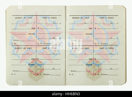 VILNIUS, LITHUANIA - JANUARY 05, 2017: Empty pages of  standatd USSR officer military ID from 1982. Russian text - Stock Photo
