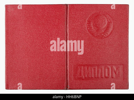 VILNIUS,  LITHUANIA - JANUARY 05, 2017: Diploma about of institute with excellent estimates cover- red imitation - Stock Photo