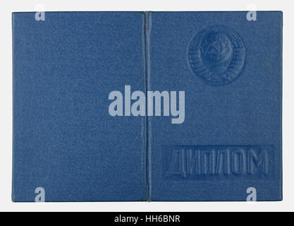 VILNIUS,  LITHUANIA - JANUARY 05, 2017: Diploma about of institute with stabdard estimates cover- blue imitation - Stock Photo