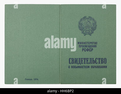 VILNIUS,  LITHUANIA - JANUARY 05, 2017:  Certificate about secondary eight-year school education cover-green imitation - Stock Photo