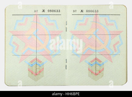 VILNIUS, LITHUANIA - JANUARY 05, 2017: Empty pages of  standatd USSR officer military ID from 1982 year.  Russian - Stock Photo
