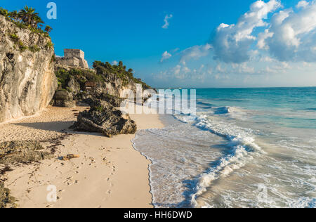 White sand beach and ruins of Tulum, Yuacatan, Mexico - Stock Photo