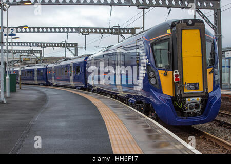 A brand new Hitachi train at Gourock railway station in Inverclyde. This train is the first of a new generation - Stock Photo