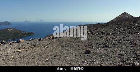 Looking towards Stromboli and Panarea from Vulcano Island - Stock Photo