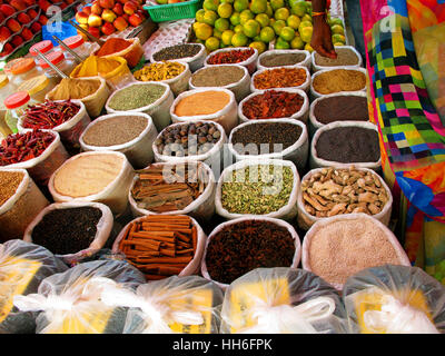 Warrious colorful spices on east market - Stock Photo