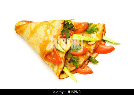 Pancake with cucumbers and tomatoes isolated on white - Stock Photo