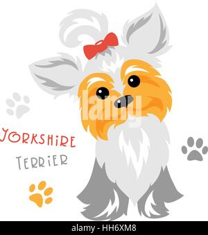 Vector funny Yorkshire terrier dog sitting - Stock Photo