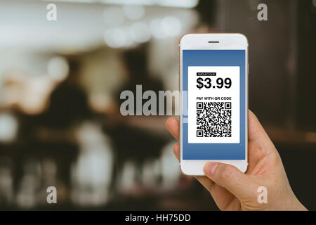 Fintech concept, paying for goods and services by smartphone using E-Wallet and E-Money. - Stock Photo