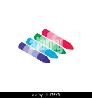 Crayons icon, isometric 3d style - Stock Photo