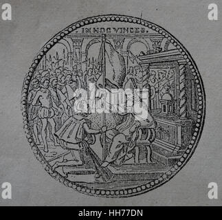 Medallion commemorating the delivery of the flag of the Holy League. Pope Pius V (1504-1572). Engraving, 1882. - Stock Photo