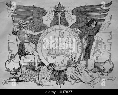 Reign of Philip II of Spain (1527-1598). Engraving, 1882. - Stock Photo